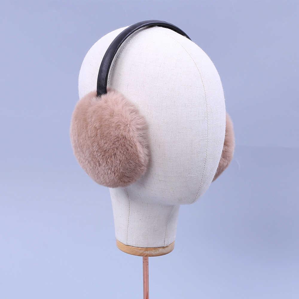 2018 зимние наушники имитация кролика рекс Для женщин зимние меховые  наушники уха грелки большие плюшевые для b2f112afd53aa