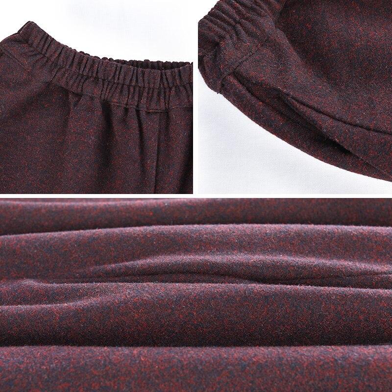 Rouge Pantalon Haute Hiver Automne Palazzo Élastique Culottes Large Long Streetwear Femmes Taille 2018 Jambe Red Deep Laine Lzjn Profond E5RwWpRq
