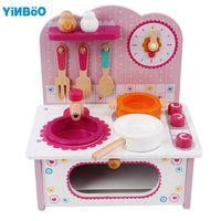 Baby Toys Kid Cooking Set Wooden Kitchen Toy For Children Wooden Food Play Kitchen Set Pink