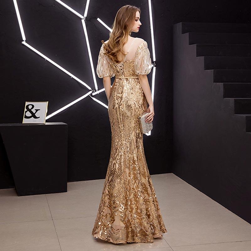 FADISTEE New arrival elegant prom dresses Vestido de Festa gown mermaid Robe De Soiree half puff sleeve sleeves bling sequins 5