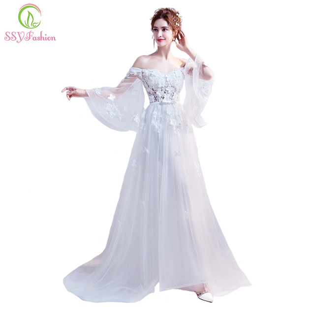 SSYFashion New Banquet Grace White Evening Dress The Bride Married Sexy  Boat Neck Lace Long Prom Party Gown Robe De Soiree 5e77c636d