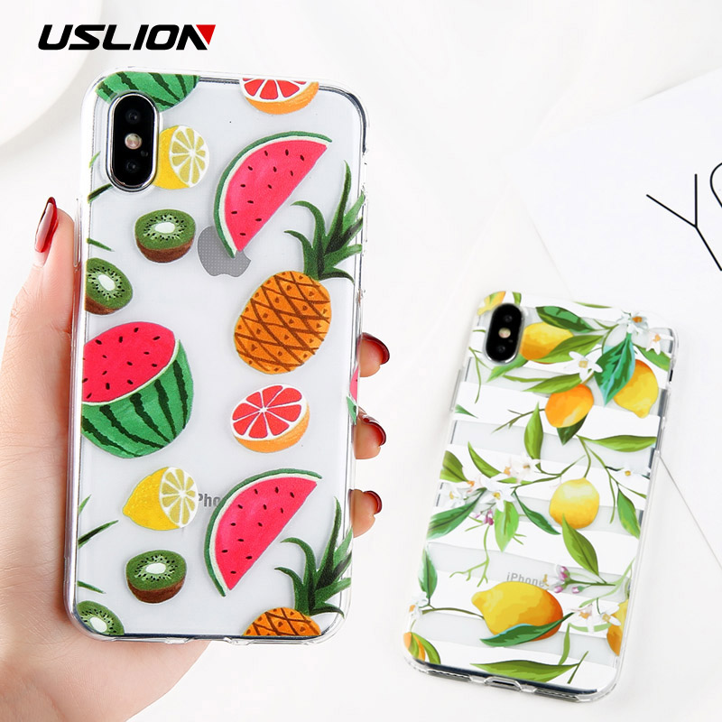USLION Clear Phone Case For iPhone 6 6S Plus Flower Cases For iPhone X 7 8 Plus 5 5S SE Pineapple Cherry Soft TPU Back Cover