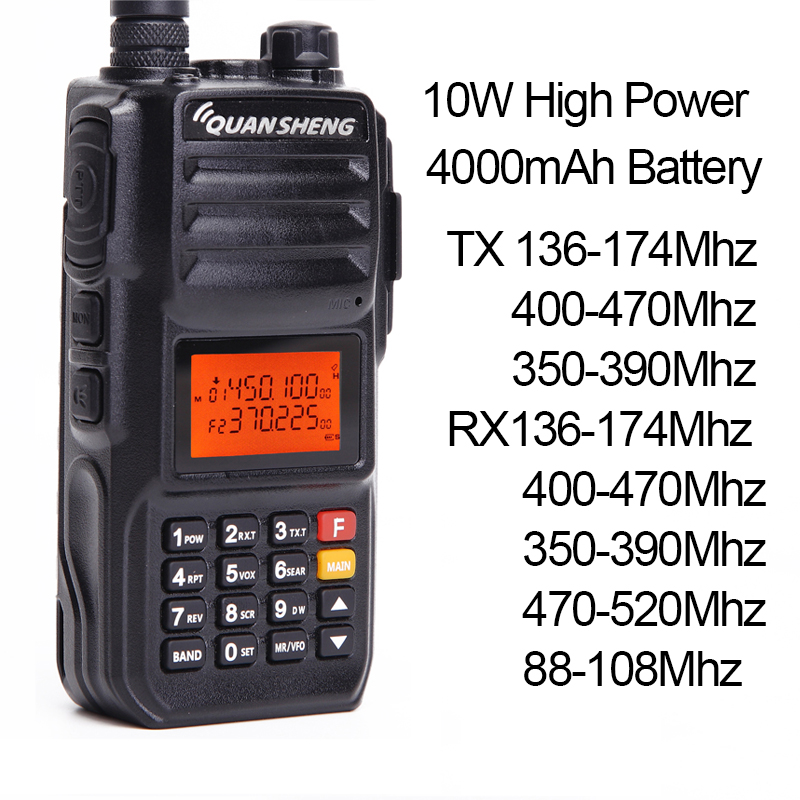 Quansheng TG UV2 PLUS 10W Powerfull 5 Bands 136 174MHz/Police 350 390MHz/400 470MHz 4000mAh Ham Radio Walkie Talkie TG UV2Plus-in Walkie Talkie from Cellphones & Telecommunications    3