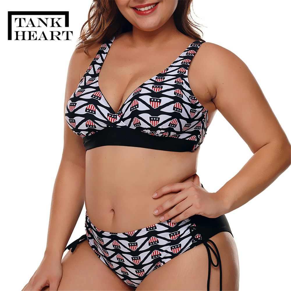 0f0f88ab3cb Tank Heart Print Sexy Swimsuit Women high waist Bikini push up plus size  swimwear Padded Bikini