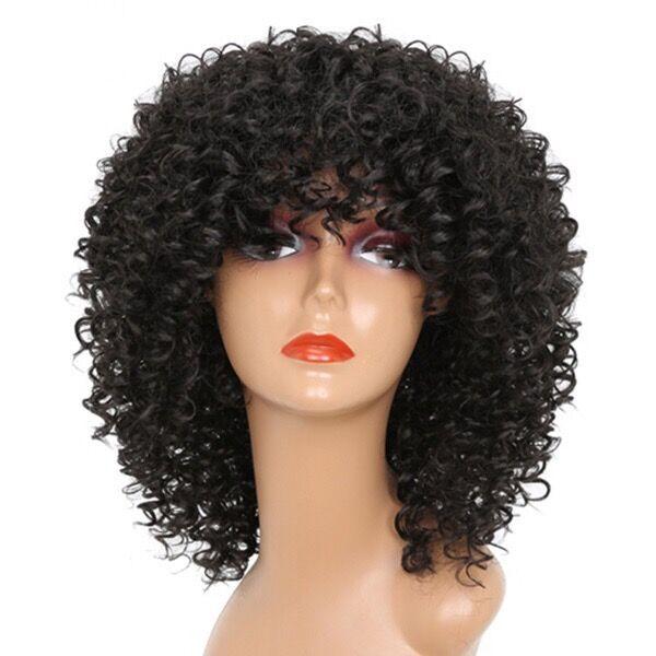 European and American wig short hair curly head set Black