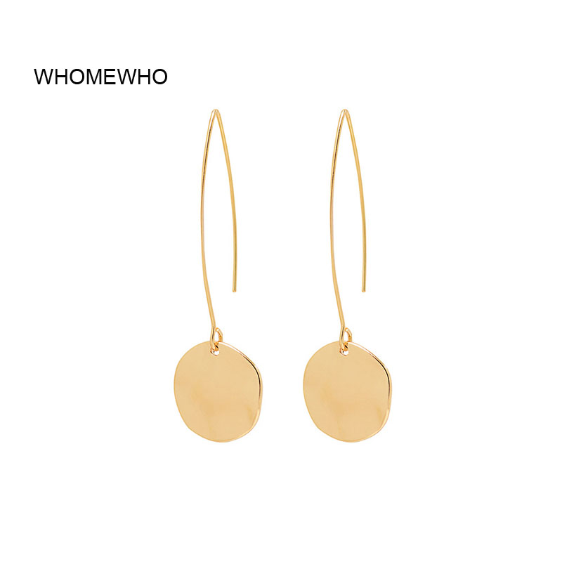 2019 Gold Alloy Hammered Metal Geometric Round Minimalist Wire Earrings Korean Fashion Wedding Bridal Jewelry Summer Accessory
