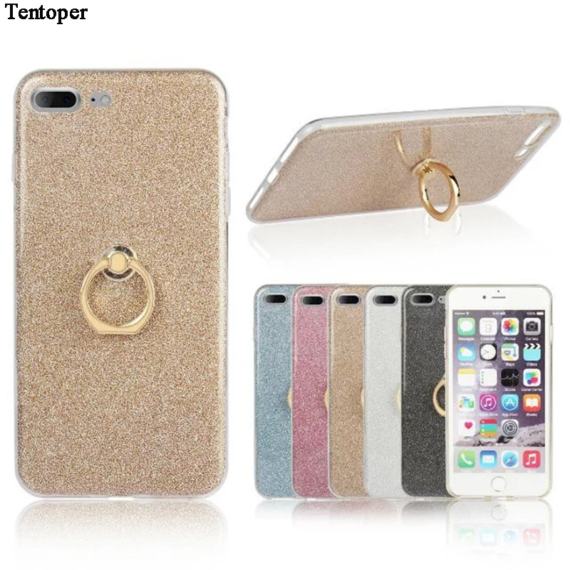 For iphone 7 Case Glitter <font><b>Sticker</b></font> Ring Buckle Stand Phone Case For iphone 6 6s 7 7 Plus Soft Silicone Back Phone Cover Funda image