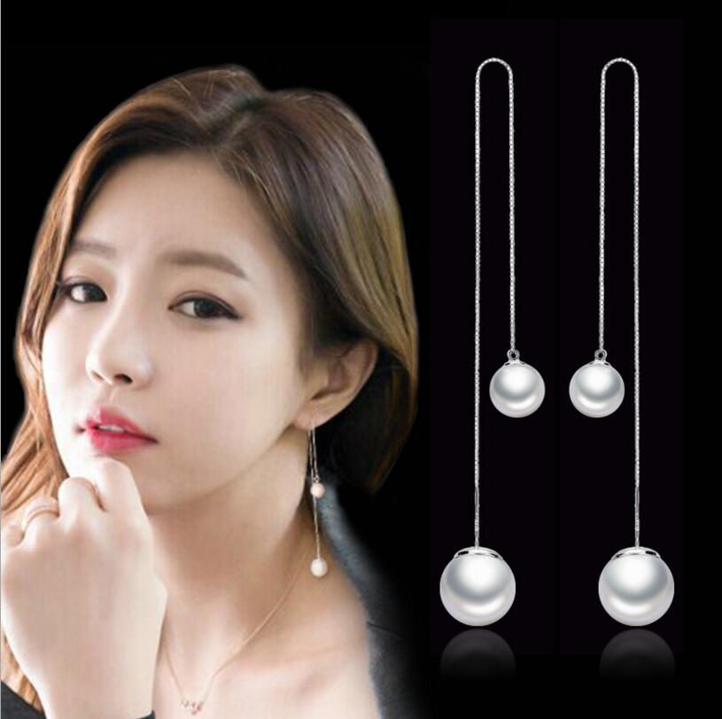 Fashion 925-sterling-silver Simulated Pearl Chain Earring Ear Line Long Earrings 12cm For Women boucle d'oreille S-E87(China)