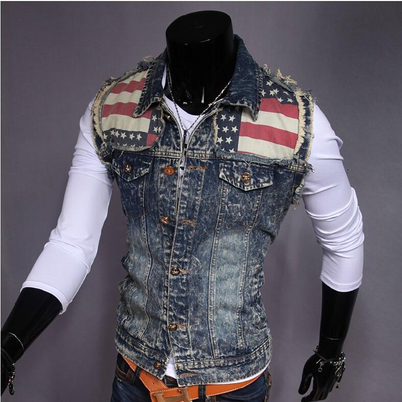 2017 Summer Autumn New Arrival Fashion Men's Denim Vest Brand Jeans Vest Men Jeans Vest Denim Sleeveless Jacket B402