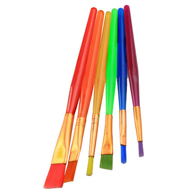 6 unids/set pinceles de pintura de acuarela coloridos de caramelo para niños pinceles de formas variadas para pintura de dibujo de Tempera