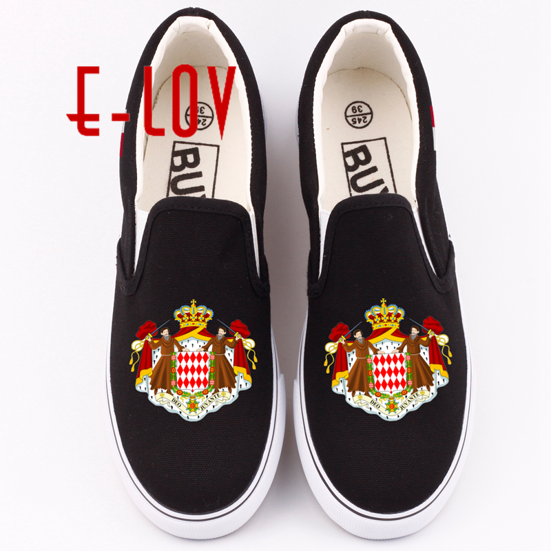 E-LOV Women Canvas Shoes Printed National Flags Monaco Casual Shoe Monacan National Emblem Flat Loafers Zapatos e lov women casual walking shoes graffiti aries horoscope canvas shoe low top flat oxford shoes for couples lovers