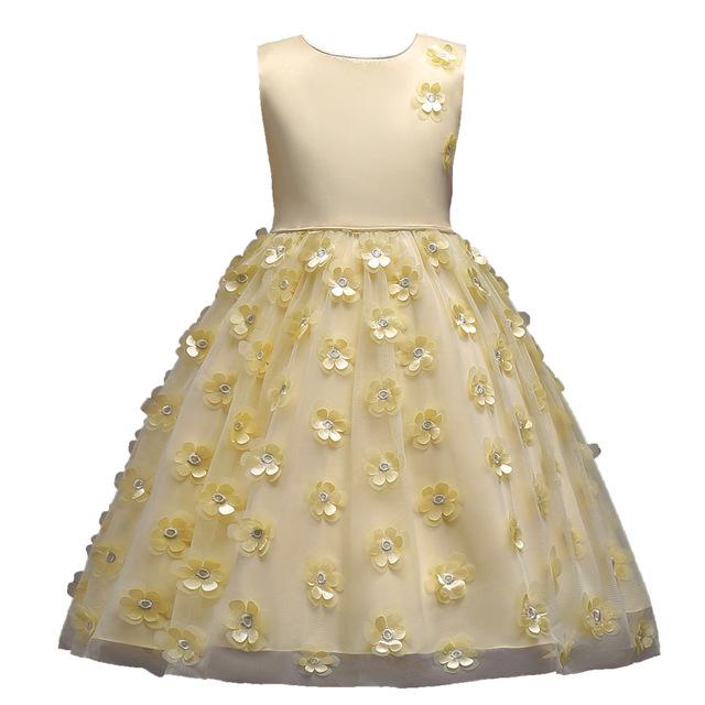Filles Robe De Soirée De Mariage Élégant Boule grown Tutu princesse robe D'anniversaire costumes Communion Fleurs Robe Enfants Vêtements