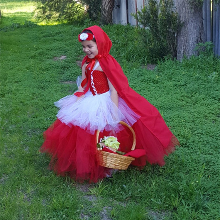 New Design 4 5 6 7 8 9 Years Girls Birthday Dress Halloween Little Red Hood Costume Cute Birthday Outfits Tutu Dresses for Girls