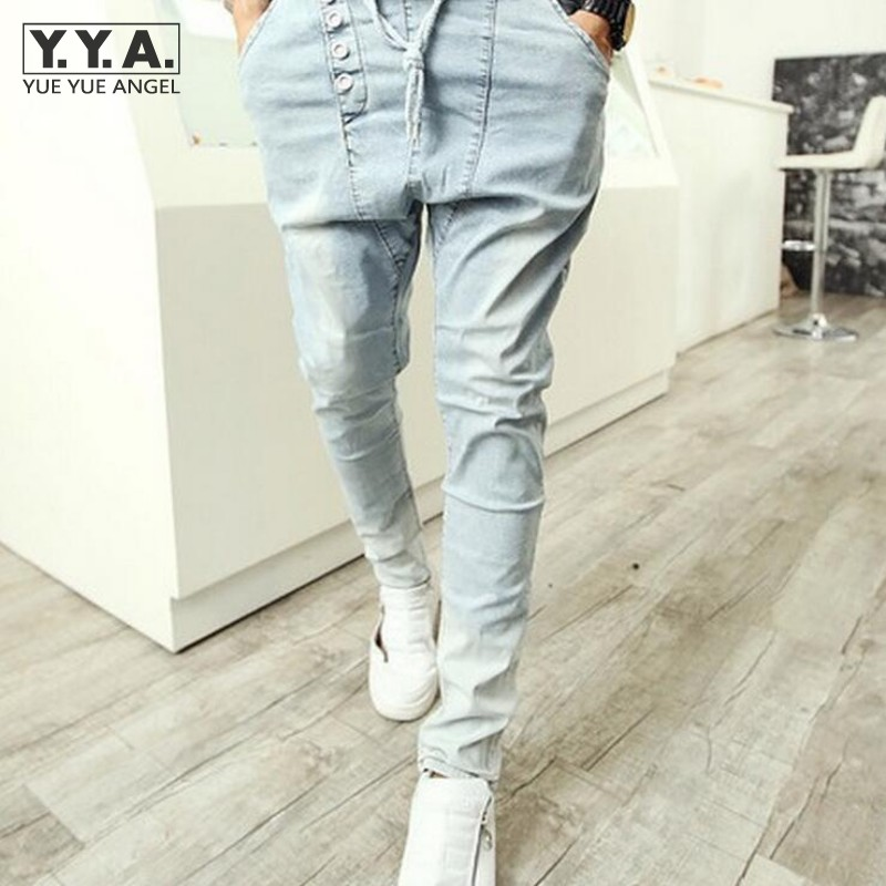 Light Blue Washed Jeans Men Straight Denim Pencil Pants Elastic Waist Boot Cut Harem Pants Drop Crotch Casual Male Trousers