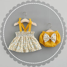 2pcs Summer Baby Girl  Dress Sleeveless Princess Flower Dres