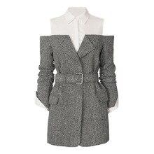 Women Patchwork Coats Autumn Cold Shoulder Belt Slim Runway Long Sleeve Overcoat Ladies Turn-Down Collar Office Elegant Jacket