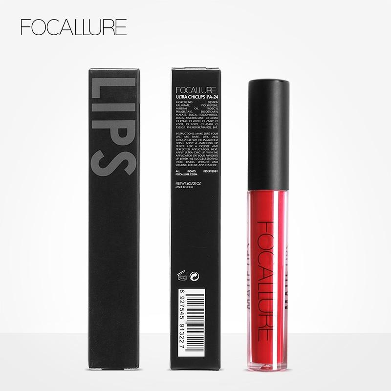 FOCALLURE Lipstick Matte Red Lips Makeup Lip Gloss Tint Waterproof Gold Shimmer Metallic Nude Matt Liquid Lipstick Pencil 5