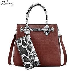 Aelicy Женская мода из искусственной кожи аллигатора Сумка Леди Универсальный простой Бостон европейский и американский стиль Crossbody