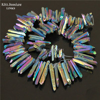 1 strand titanium dell'arcobaleno quarzo bastoni crystal points spikes addestrate briolettes beads 16 pollice strand 12-36mm, druzy ciondolo