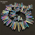 1 strand titanium rainbow quartz varas crystal points spikes perfurados briolettes beads 16 polegada strand 12-36mm, druzy pingente
