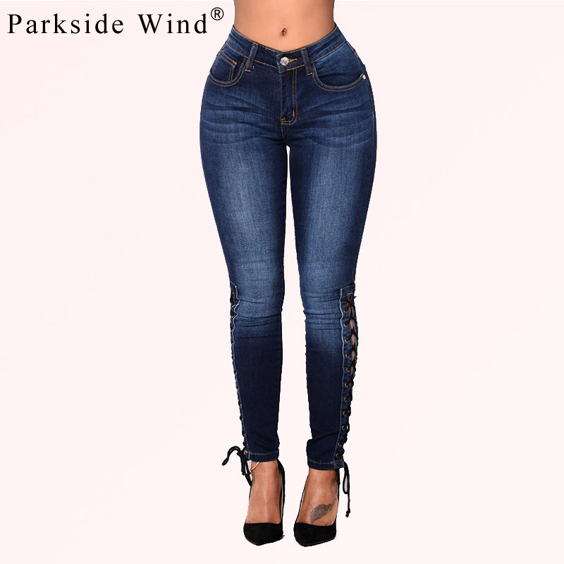 PARKSIDE WIND Women Sexy Lace Up Hole Ripped Jeans Female