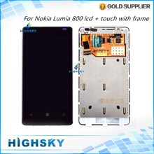 Tested 10 pcs/lot Free EMS DHL Shipping Black Fit For Nokia Lumia 800 N800 LCD Display+Touch Digitizer  With Frame