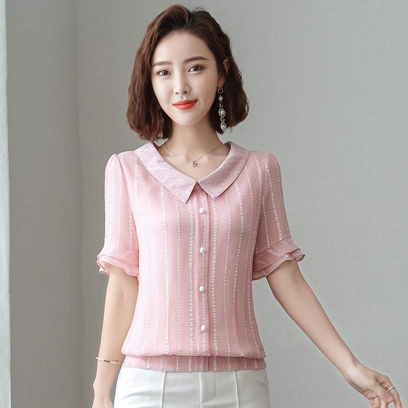 Women Fashion Spring Summer Style Chiffon   Blouses     Shirts   Lady Casual Short Flare Sleeve Peter Pan Collar Blusas Tops DF2761