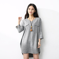 Women Blouses Summer 2017 Casual Ladies V Neck Shirt Grey 3 4 Sleeve Ruffled Hem Loose