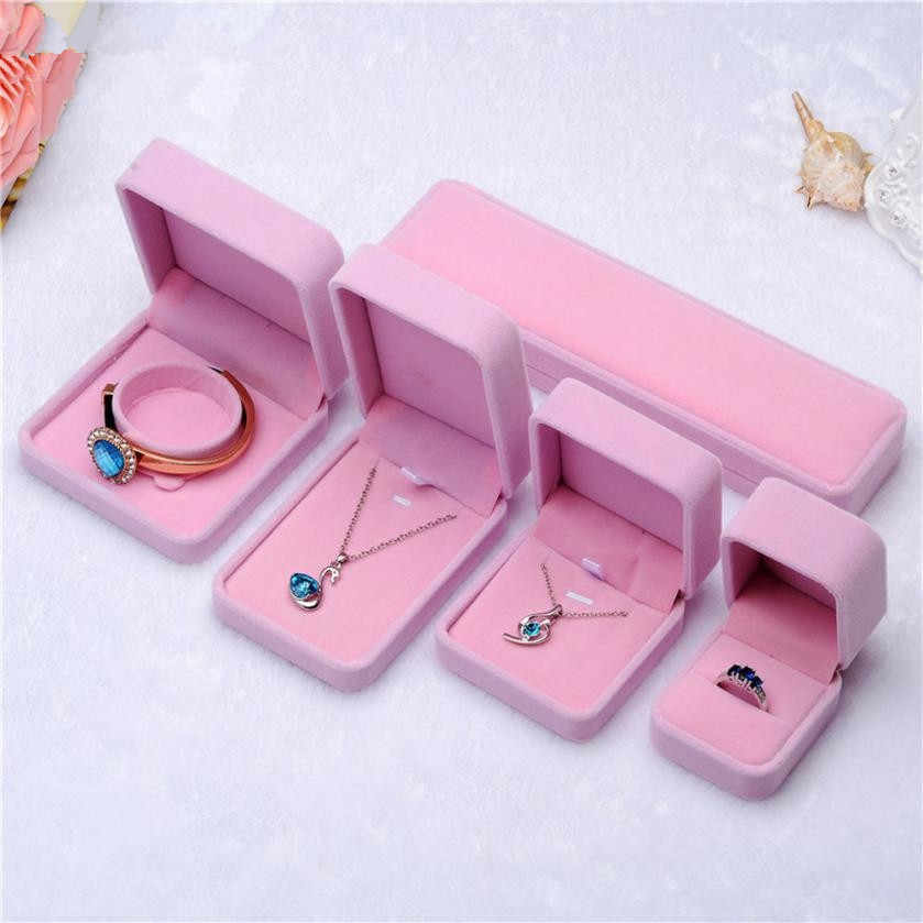 1Pcs Pink Jewellery Case Earrings Necklace Bracelets Display Box Velvet Gift Boxes Amazing