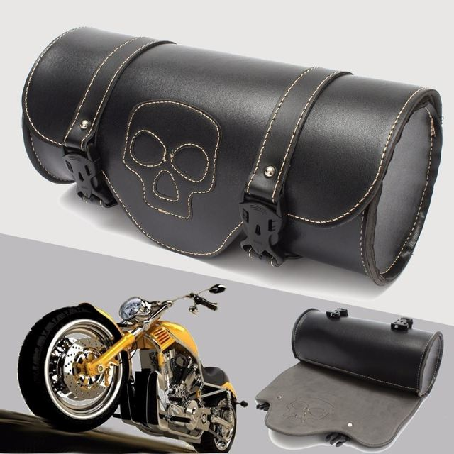 Black Motorcycle Side Saddlebag Pu Leather Round Saddle Tool Bag For Harley Davidson Motorcycles Left
