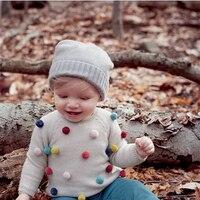 Camisola para As Meninas Moda Estilo Cardigan de Malha de Algodão Pullover Camisola Bola de Cabelo Ultra Macio Infantil Outono/Inverno Roupa Dos Miúdos 2Y