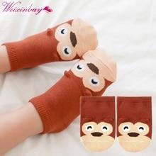 Носки для маленьких детей; хлопковые носки с маленькими ушками; детские Нескользящие Носки с рисунком; размеры s, m; Новинка