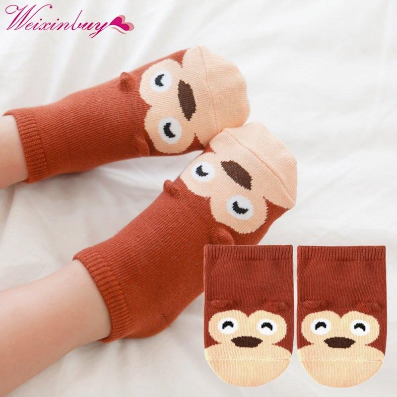 Small Infant Socks Little Ears Cotton Socks Kids Baby Cartoon Pattern Anti-slip Socks S M New Arrival