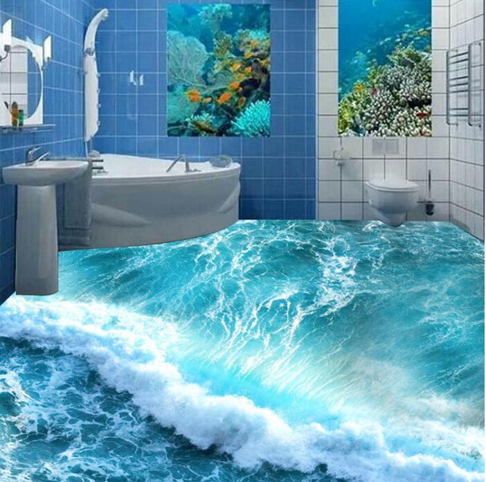Free Shipping 3d Custom Wall Sticker Ocean Blue Wave