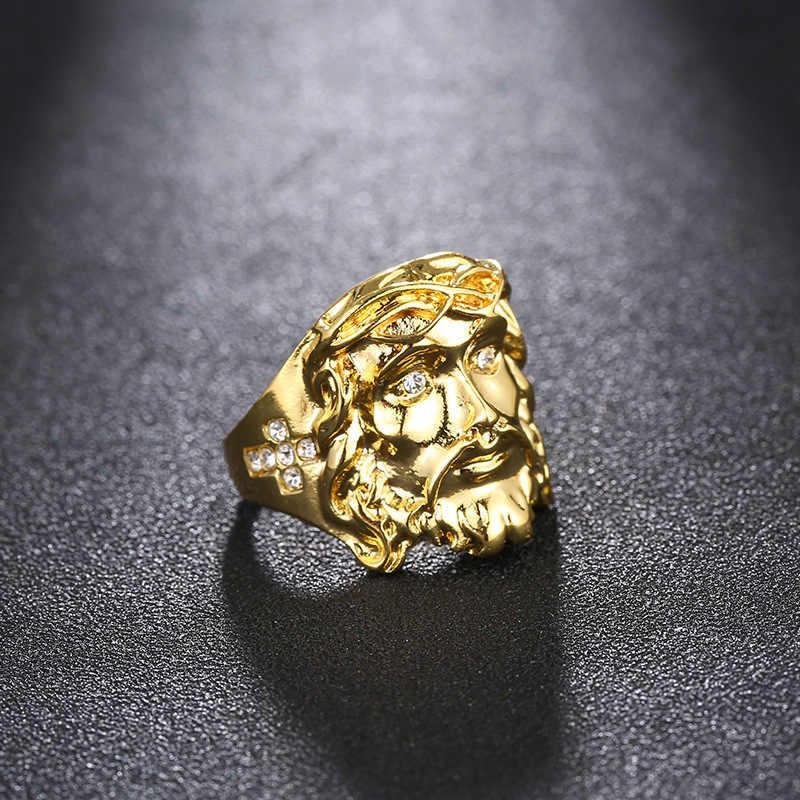 高品質のファッションチャームパンク accessorie ジュエリー 24 18k ゴールドヒップホップブリンブリンクリスタルクロスイエスピースリング男性 bestes 願い