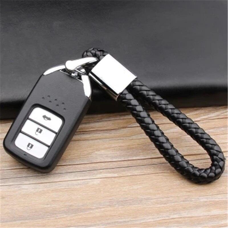 Hot Sale Business Keychain Braided Genuine Leather Zinc Alloy Car