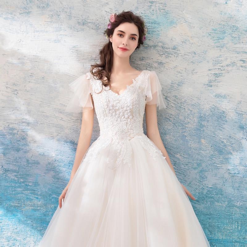 AXJFU princess v neck white lace wedding dress luxury vintage flower lace wedding dress beading crystal wedding dress 608t in Wedding Dresses from Weddings Events