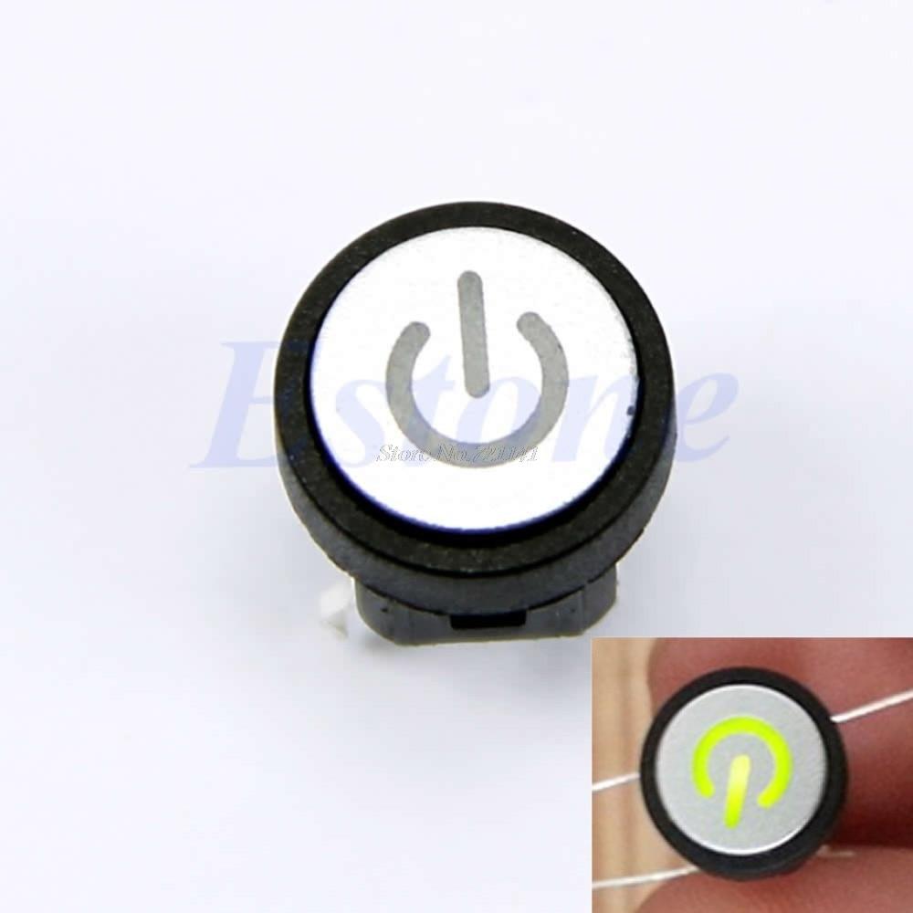 Символ питания светодиодный светильник кнопочный выключатель без фиксации чехол для компьютера переключатель зеленый