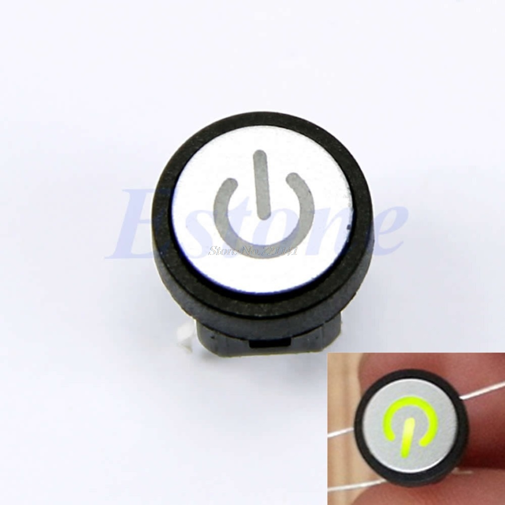 Power Symbol Led Light Push Button Momentary Latching Computer Case Switch Green