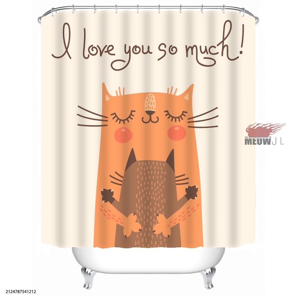 [MIAOJI] Cat family Girl Cute Animal Bathroom Shower Curtain Various Sizes Free Shipping Bathroom curtain