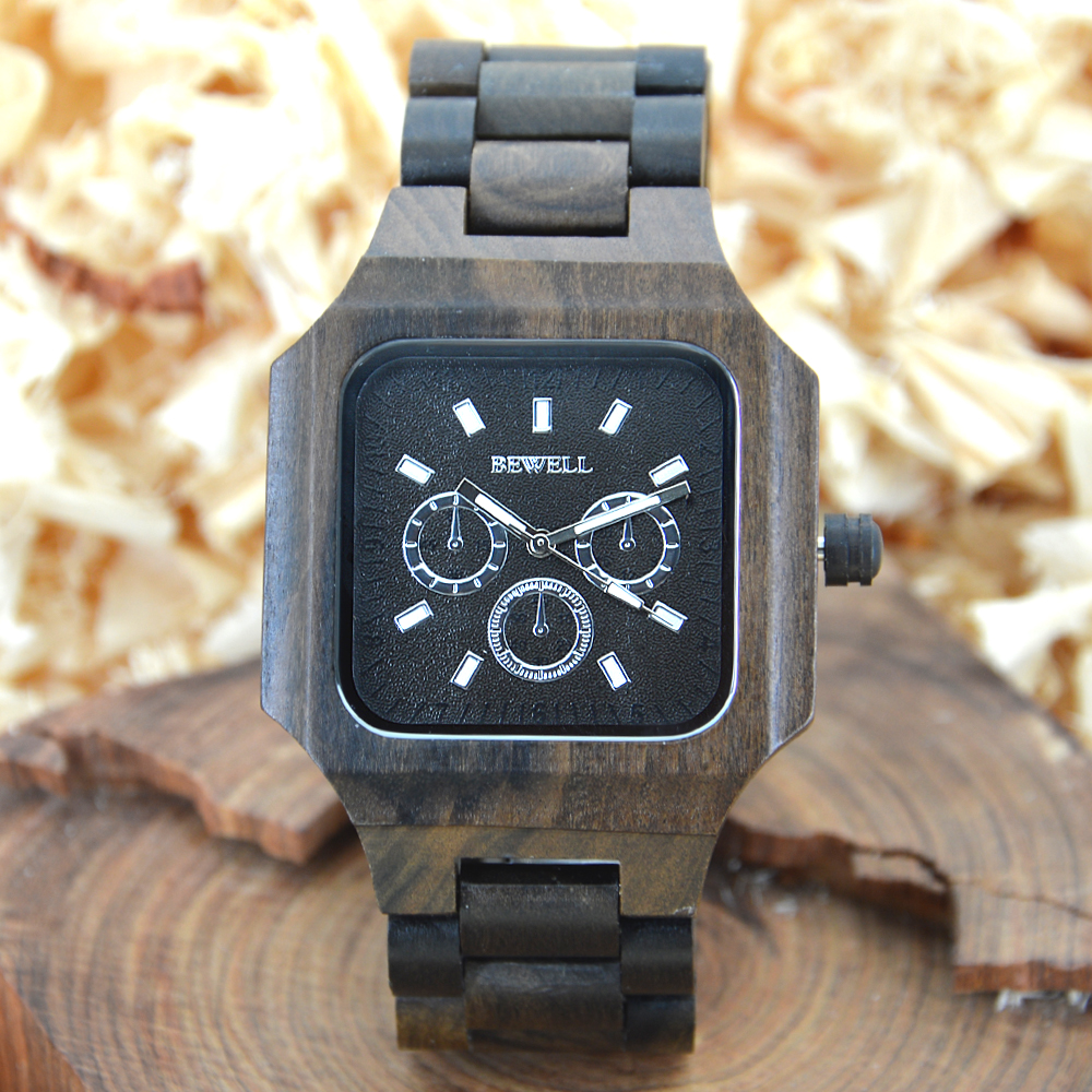 BEWELL Square Wood Watch Men Analog Quartz Watch Mens Watches  Top Brand Luxury Wooden Wristwatch Fashion Montre Homme 001A fashion casual style mens dress wooden wristwatch for men watch wood top brand luxury antique wooden sandal men s quartz watches