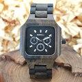 Bewell reloj de madera cuadrada hombres analógico de cuarzo reloj relojes para hombre de primeras marcas de lujo reloj de pulsera de madera moda montre homme 001a
