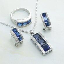 De Tipo Clip de oreja Pendientes/Collar/Anillo de Cristal Azul de Cristal Forma de Columna 925 Marca Plateado Joyería de Las Mujeres Set-S198
