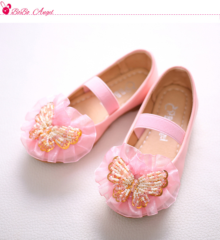 2017 Hot new girl princess shoes children's soft soles elastic belt boat shoes dance performance large size shoes  JUNSHANANGEL
