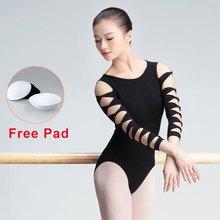 High Quality Girls Women 3/4 Long Sleeve Ballet Leotards Black Swan Ballet Dance Wear Lycra Cotton Open Back Gymnastics Leotards