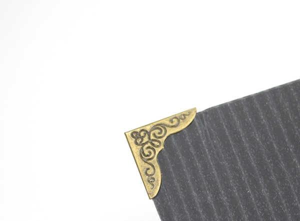 DIY Photo Corner metal poster banner KT board plate book card protective corner book angle frame buckles pattern trumpet bronze