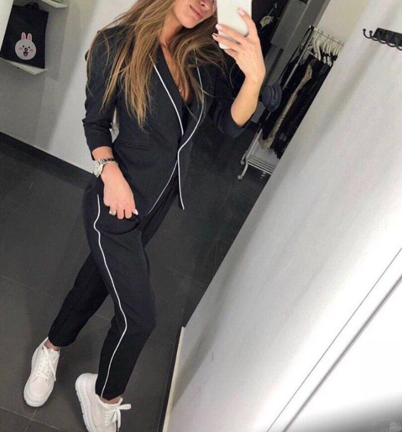 Femmes mode costumes 2018 à manches longues col en V profond automne deux pièces ensemble femmes hiver vêtements mode OL blazer + pantalon livraison gratuite