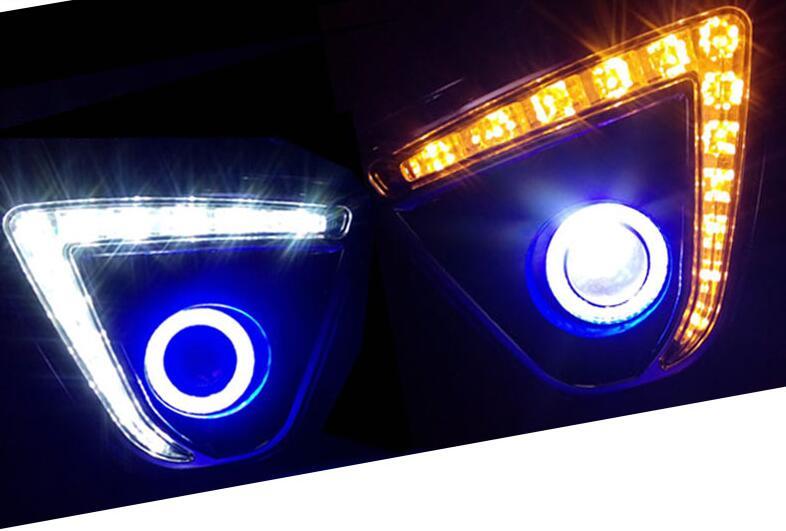 СИД DRL дневной ходовой свет + COB angel eye + объектив проектора + halo противотуманные фары + желтый сигнал поворота для Mazda cx 5 2012 2016