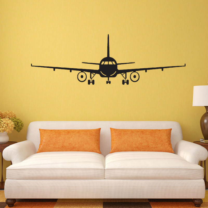 Vinyl Removable Commercial Airliner Wall Decal Home Decor Airplane Silhouette Wall Stickers For
