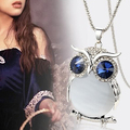 Women Owl Rhinestone Crystal Pendant Necklace Animal Long Sweater Chain Jewelry  9918